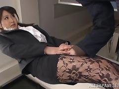 A stunning Japanese girl in pantyhose gets fingered and fucked