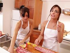 Sexy babes in the kitchen getting fucked and give rimjob in threesome