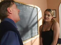 College girl in miniskirt gets her shaved pussy feasted by her teacher