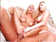 Two big tit blondes shared one cock