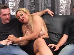 This mature amateur is so horny she needs two men to satisfy her