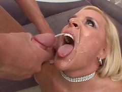 Seductive milf swallows cum after giving cock wild blowjob