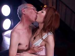 Japanese bitch Tsubasa Amami gives a blowjob to a lewd old man