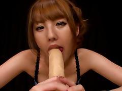 Hardcore solo scene with lewd Japanese chick Tsubasa Amami