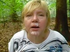 Wanking-off on Her #35 Busty Thick Mature in the Forest