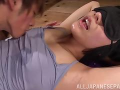 Asian Miku Abeno dildo fucks cunt before riding cock