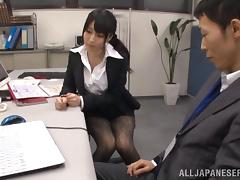 Asian cowgirl in nylon pantyhose riding huge dick while yelling in the office