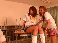 Japanese bitches wearing miniskirts, share a boner in FFM clip
