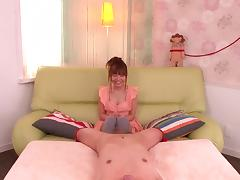 Asian babe gives footjob in socks before handjob in POV