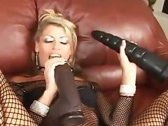 Blonde Milf huge dildo anal