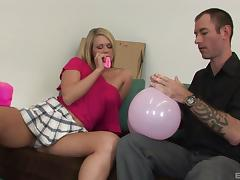 Horny blonde in miniskirt yelling while riding massive dick hardcore