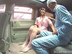 nurse sucks a pacient's cock in the emergency car