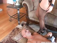 Blonde milf sucks a dude's cock and drills his butt with a dildo