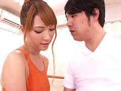 Slender Japanese babe with fake tits enjoys getting hammered hardcore