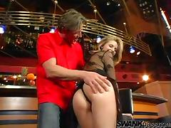 Blonde cougar with big tits enjoying a hardcore fuck in a nightclub