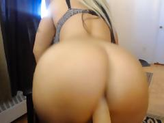 Busty blonde bitch rides your dick on POV webcam