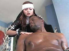 Gorgeous pornstar in fishnet stockings giving a big black cock a steamy blowjob in interracial