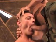 Kinky sergeant fucks his subordinate in the tent