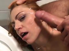 Italian redhead milf take it in both holes