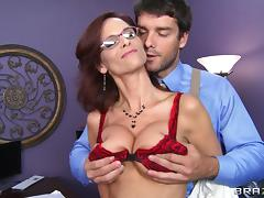 Sexy milf in enticing lingerie mans while getting her ass hole pounded hardcore
