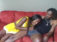 A horny ebony babe sucks, fucks then takes cum in her mouth