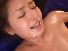 Lovely Japanese broad in a wicked threesome