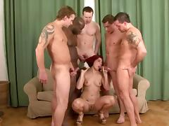 Five guys fuck Lucy Bell at once during an interracial gangbang