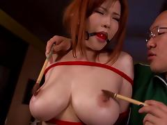 Adorable Japanese babe with bdsm fetish getting her pussy licked while bound