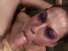 Cheerful brunette babe getting her face fucked by a big cock close up