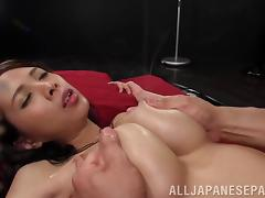 Naughty Asian chick with big natural tits getting her pussy licked