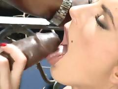 Curvy brunette with natural tits coping up with big black cock hardcore outdoor