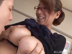 Tantalizing Asian milf with glasses gets her face fucked in a close up pov shoot