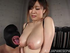 Busty Asian pornstar  with natural tits getting tit fucked hardcore