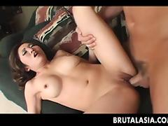 Super hot Asian babe rides the dude\'s erect member