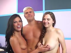Fabulous brunettes masturbate with vibrators then get hammered in a splendid ffm threesome