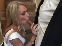 Delectable blonde babe with fake tits swallowing cum after getting her shaved pussy throbbed hardcore