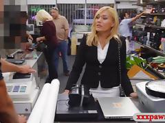 Hot blonde milf pawns her pussy and fucked at the pawnshop