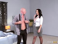 Milf in tight cardigan and skirt is a sexbomb in a fuck video