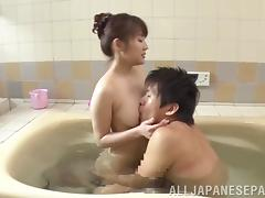 Bubble baths get this horny Asian babe in the right mood everytime
