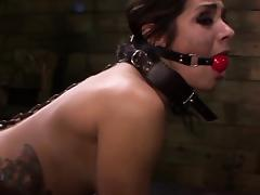 Strapon loving sub with anal hook gets dominated