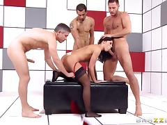 Adriana Chechik gangbang with three dicks pounding her