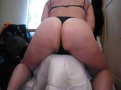 Fat Ass in thong Big Legs on high heels.