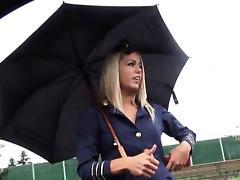 Stewardess, Blonde, Blowjob, Hardcore, Public, Reality