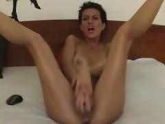 Short Hair, Brunette, Dildo, Masturbation, Riding, Toys