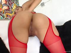 Mimi Allen, wearing stockings and a corset, gets her pussy slammed