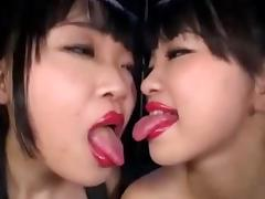 Japanese Lesbian Lipstick Kiss IV