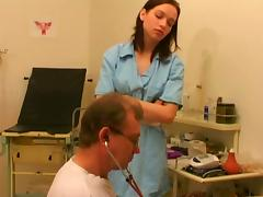 Nurses in uniform piss drink after blowjob and fucking in fetish threesome