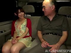 Old man gets a super hot blowjob from a much younger babe in the car
