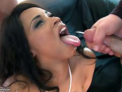 Seductive ebony babe gets her anal rammed in a superb interracial threesome