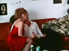 Vintage porn compilation with shaggy blondie and neat dark brown hair babe
